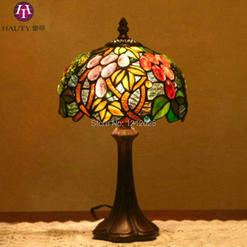 Vintage Tiffany Style Grape Table Lamp Bedside Stained Gl Lampshade Coffee Night Light Home Lighting Crafts 8 Inch In Led Lamps From