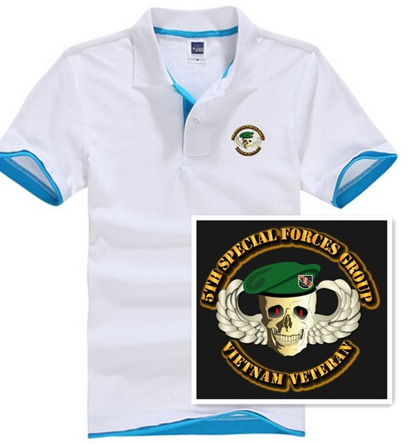 Short Sleeve Polo Shirt Men 5th Special Forces Group Skull Wings