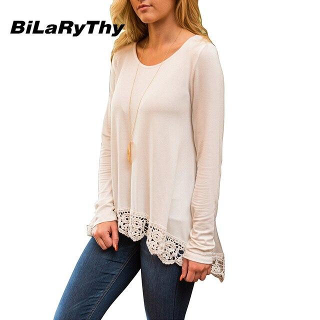 BiLaRyThy Autumn Winter Casual Women Tops Tees Round Neck Long Sleeve Irregular Lace Hem Solid T Shirts