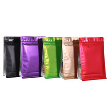 50 Pcs Matte Colored Eight Sides Sealed Flat Bottom Foil Zip lock Pouch With Window Side Gusset Plastic Coffee Bags(China)