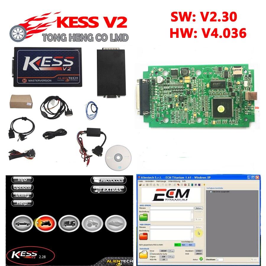 Prix pour Haute Qualité KESS V2 V2.30 OBD2 Gestionnaire Tuning Kit HW v4.036 non jetons limitation maître version kess 2.30 ecm titanium logiciel