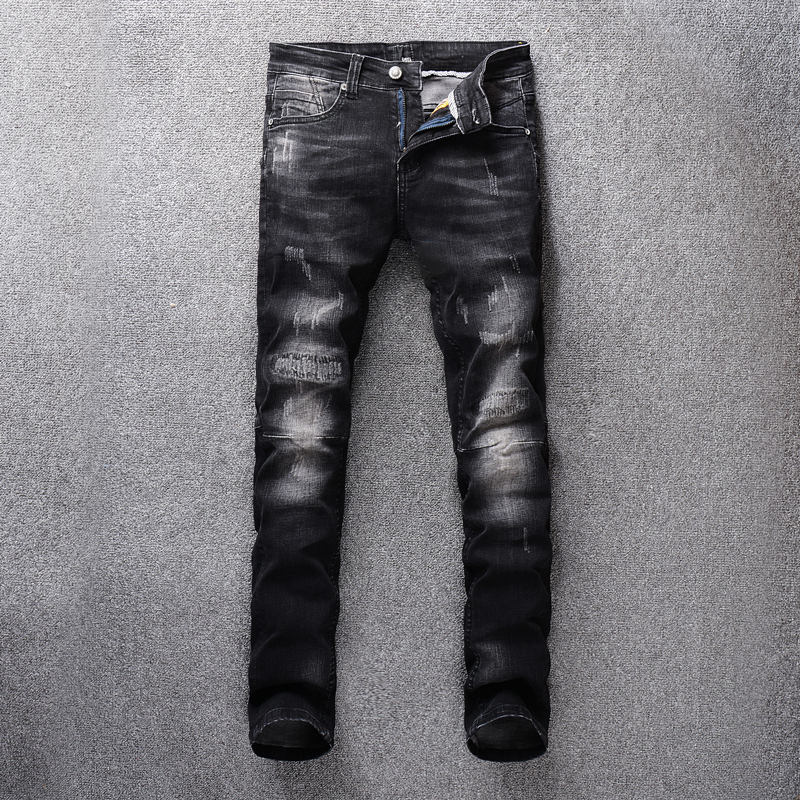Black Color Vintage Fashion Men Jeans Slim Fit Patch Design Ripped Jeans For Men White Washed Classical Jeans Homme Denim Pants