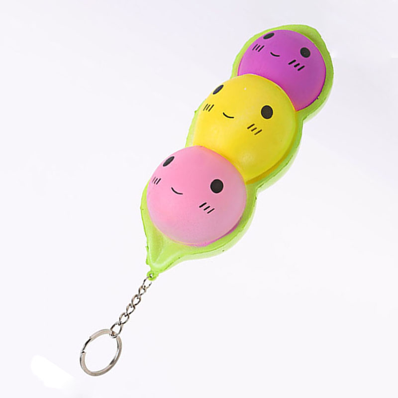 ABWE Best Sale New Squishy Slow Rising Kawaii Fun Pea Soft Squeeze Cute Phone Strap Pendant Kid Toys Gift