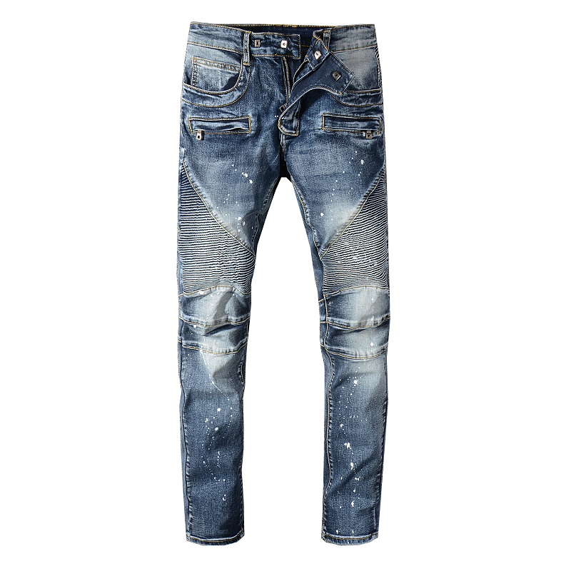 Sokotoo Men's Painted Blue Pleated Biker Jeans For Motorcycle Slim Fit Plus Size Stretch Denim Pants
