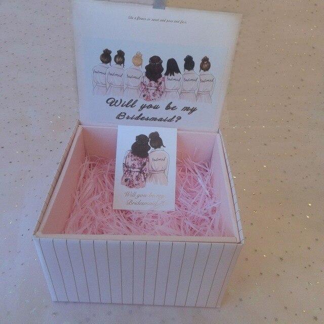 2pcs Lot Pink Black Cardboard Wedding Birthday Bridal Shower Hen Party Gifts Bridesmaid Robes Foldable Gift