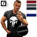 The punisher crânio da forma t dos homens camisa impressão hero marvel comics ceia homens fitness musculação roupas camiseta verão