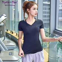 Women Yoga Shirts Female V-neck Running Shirts Quick Dry Fitness Clothes Sport T-shirts Slim Elastic Tee Tops Gym Workout Blouse