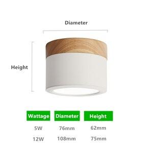 Image 4 - DBF Lámpara descendente de techo montada en superficie de madera y hierro macarrón, 5W, 12W, foco de techo de LED AC110/220V, para decoración para sala de estar