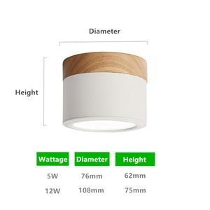 Image 4 - [DBF] Makronen Eisen + Holz Oberfläche Montiert Decke Downlight 5W 12W LED Decke Spot Licht AC110/220V für Küche wohnzimmer Decor