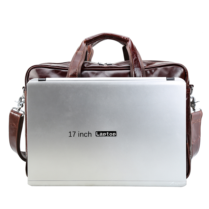 TIANHOO 17inch laptop man bags genuine leather briefcase crossbody  fashionable messenger handle bag for men male tote business-in Crossbody  Bags from ... fa93751c23b52