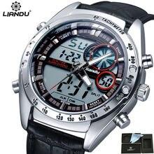 LIANDU Relogio Masculino Men Sports Watch Analog Digital Double Display 3ATM Waterproof Japan Movement Quartz Military Watches