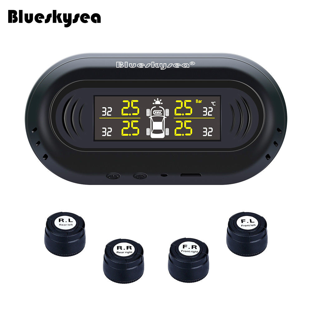 Blueskysea Car Solar Power TPMS Black Tire Pressure Monitoring System+4 External Sensors LCD Display Auto Security Alarm System