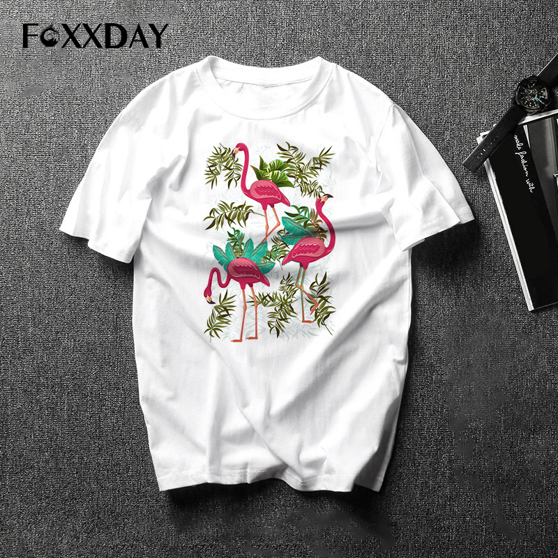 2018 Flamingos T-shirts men Summer Kawaii Clothing Loose Short Sleeve Tops Harajuku unisex T Shirts male Tees free shipping