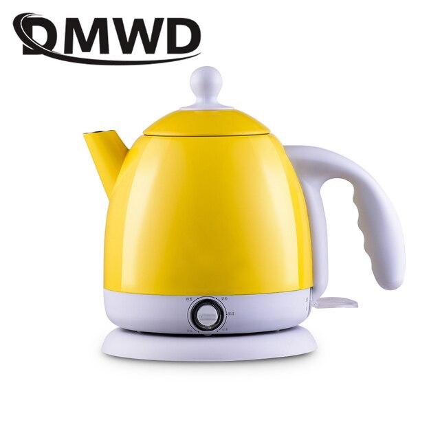 DMWD ฉนวนกันความร้อนไฟฟ้ากาต้มน้ำร้อนความร้อนหม้อไอน้ำหม้อสแตนเลส 1L Mini Travel กาน้ำชาอุ่นนมอุ่น EU