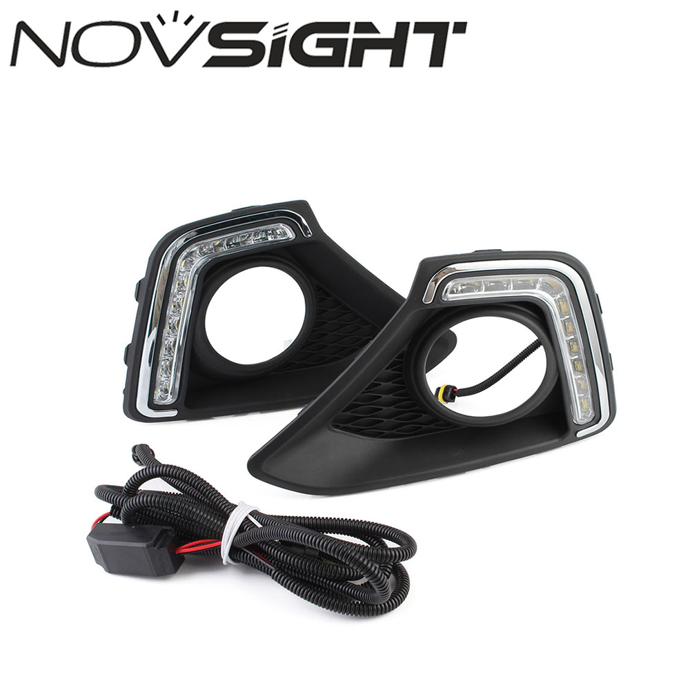 NOVSIGHT Car LED Day Light DRL Daytime Running Light Driving Fog Lamp White For Hyundai I10 2013-2014 Free Shipping 1 pair metal shell eagle eye hawkeye 6 led car white drl daytime running light driving fog daylight day safety lamp waterproof