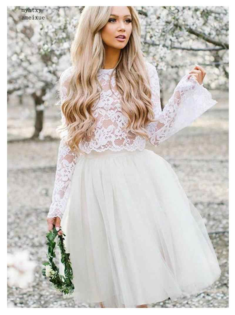 Long Stare Sleeves Wedding Dress Lace Knee Length Bride Dress Two-pieces Lace Top Beach Informal Dress Cheap Robe De Mariee 2019