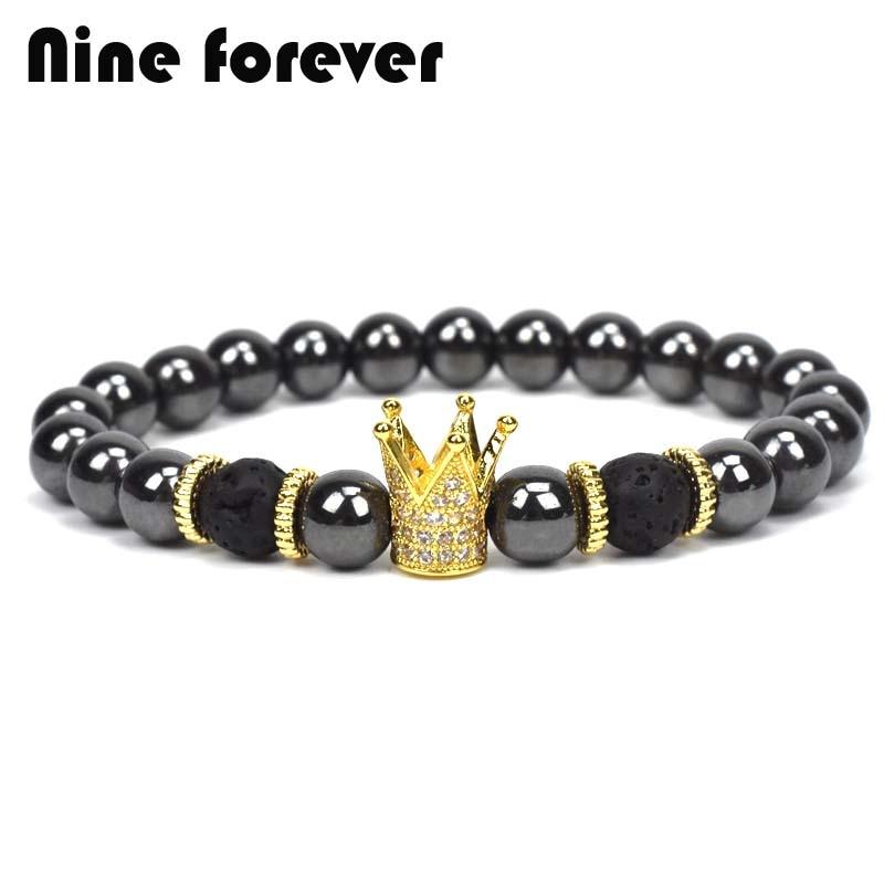 Nine forever crown charms Bracelet men jewelry bileklik hematite beads Bracelets for women pulseira masculina feminina