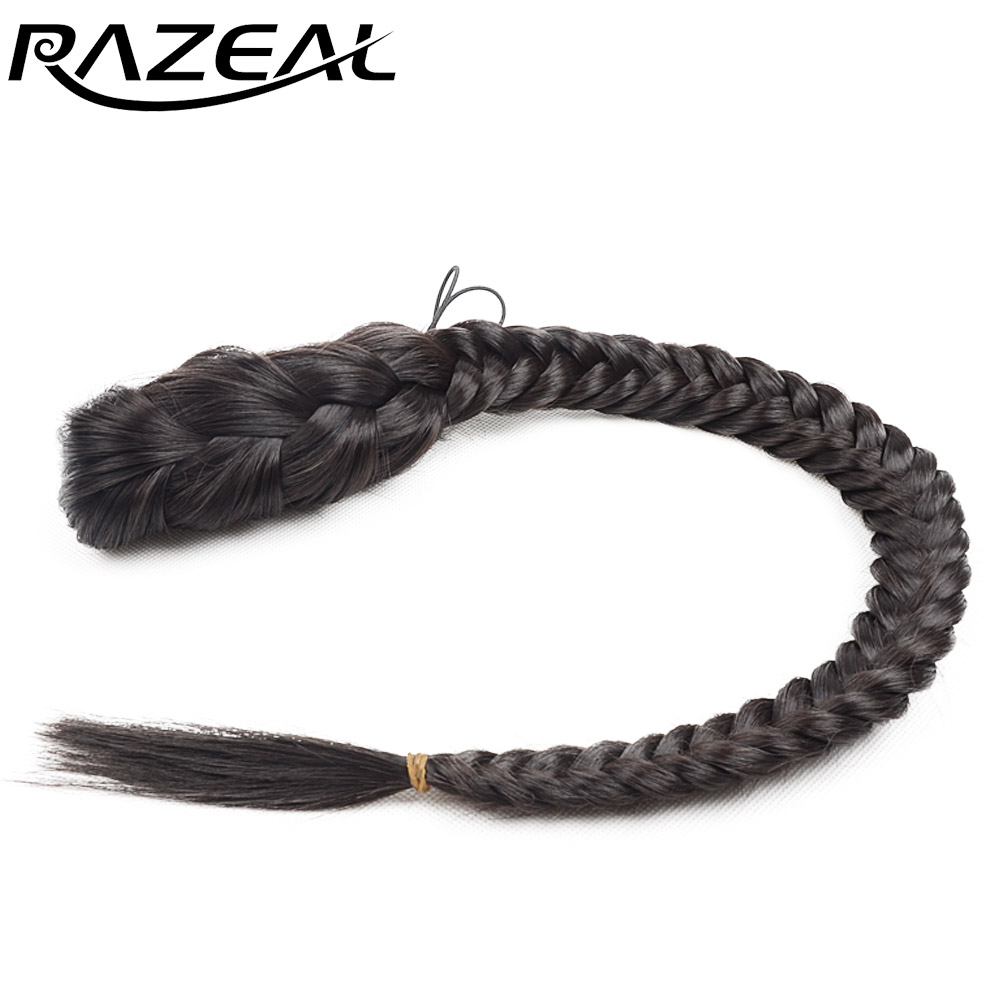 Razeal 20 inches Women's Clip In Braided Synthetic Hair Fishtail Ponytail With Elastic Drawstring Rope Black Color