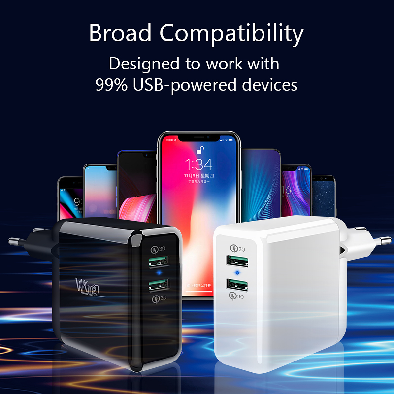 Image 3 - VVKing USB Fast Charger 36W Dual Quick Charge 3.0  For iPhone Samsung Galaxy Xiaomi Huawei LG QC3.0 Charging EU/US Phone Charger-in Mobile Phone Chargers from Cellphones & Telecommunications