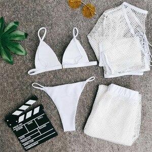 Image 5 - In X Mesh 4 piece swimsuit female Sexy see through bikini 2020 Long sleeve crop top Bikini with pants White swimwear women new