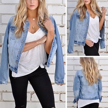 Women Fashion New Casual Pockets Vintage Ripped Turn-down Collar Street Style Cotton Slim Denim Short Jacket Coat S-L