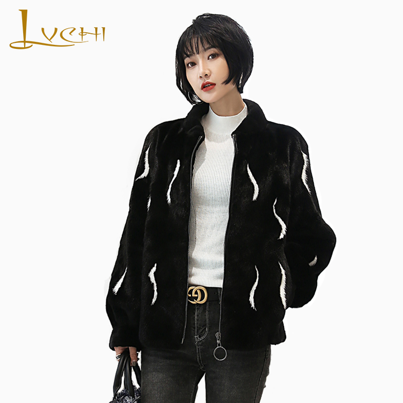 LVCHI Winter 2019 Import Crown Velvet Real Mink Fur Coats Women's Full Pelt O-Neck Black Causal Print Feathers Mink Fur Coats