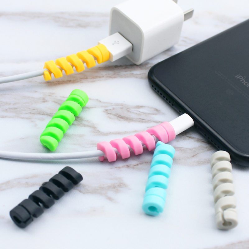10pcs Spiral Cable Protect Data Line tpu Bobbin Winder Accessories Cover For iphone Samsung Android USB Charging Earphone Case
