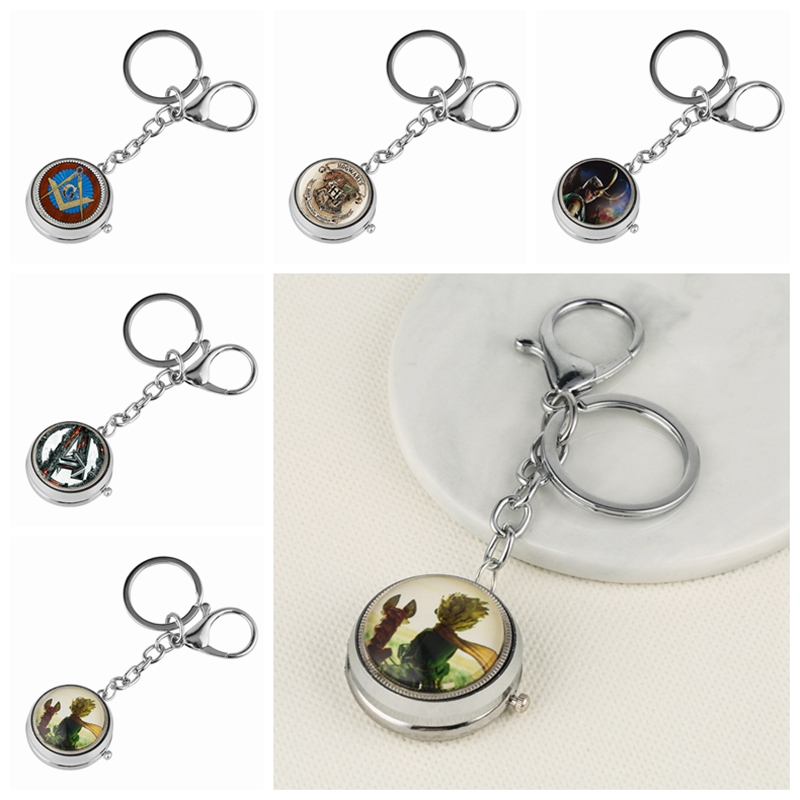 Keychain Watch The Little Prince G Masonic Theme Quartz Hanging Watch Charms Key Chain Jewelry Bag Key Holder Gift For Mem Women