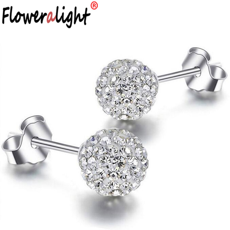10 Colors Shamballa earring 2016 korean girl Fashion Jewelry Statement Silver color Doubled Side stud earrings For Women E1648