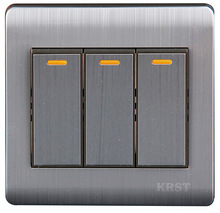 Wall Switch 3 Gang 1 Way 86Type Brushed Stainless Steel Panel 10A AC110-250V