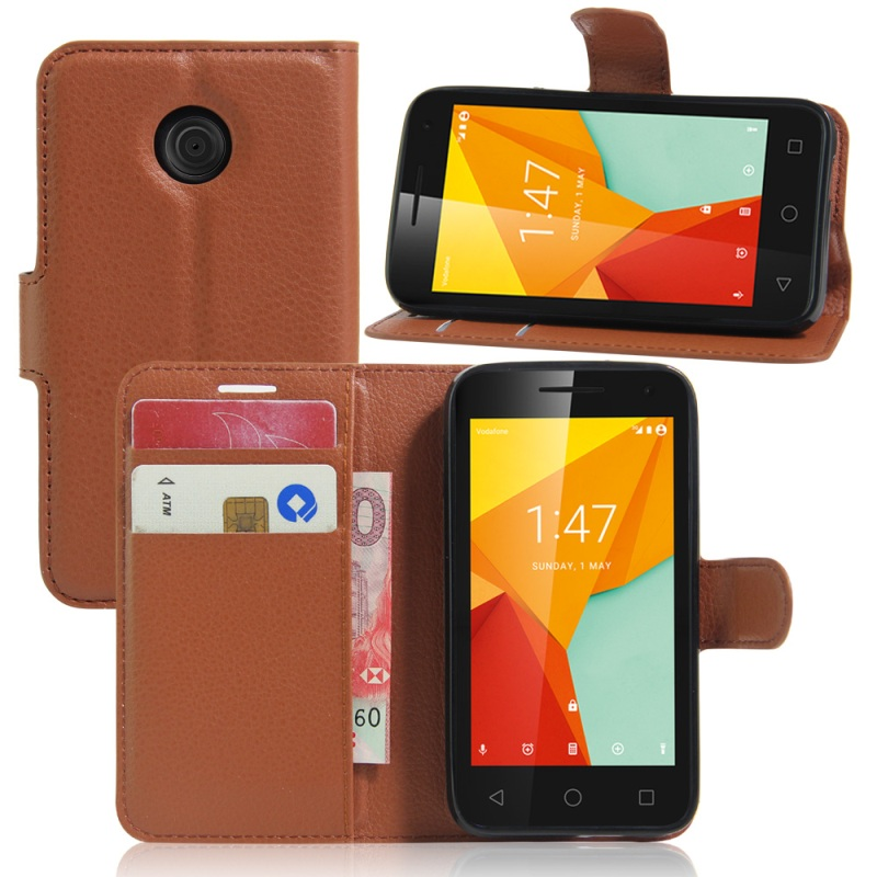 For Vodafone Smart mini 7 <font><b>Leather</b></font> Cases <font><b>Litchi</b></font> <font><b>Skin</b></font> <font><b>Leather</b></font> <font><b>Stand</b></font> <font><b>Cover</b></font> <font><b>with</b></font> <font><b>Card</b></font> <font><b>Slots</b></font> for Vodafone Smart mini 7 - 4.0 inch