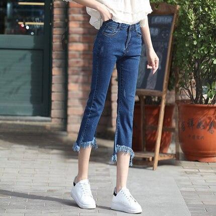 2016 summer elastic tassel bell bottom jeans female irregular horn moben pants