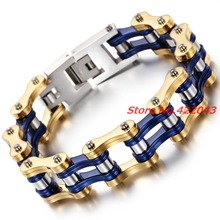 8.66″*16MM Men Jewelry Cool Silver Gold Blue Stainless Steel Bangles Biker Bicycle Motorcycle Chain Men's Bracelet Accessories