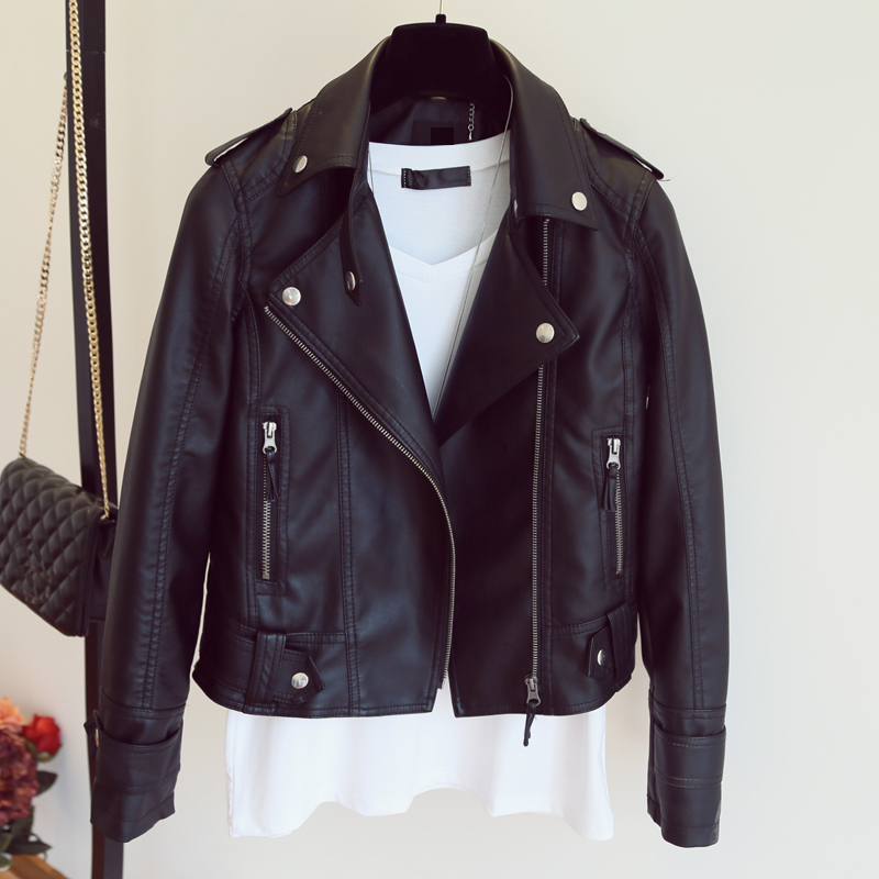Female 2018 New Design Spring Autumn PU Leather Jacket Faux Soft Leather Coat Slim Black Rivet Zipper Motorcycle Pink Jackets 1