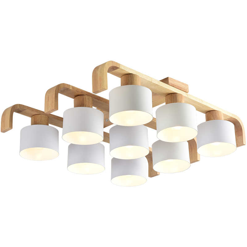 BOTIMI потолочные светильники в скандинавском стиле для гостиной квадратное поверхностное крепление белая лампа для спальни деревянные потолочные светильники обеденный светильник