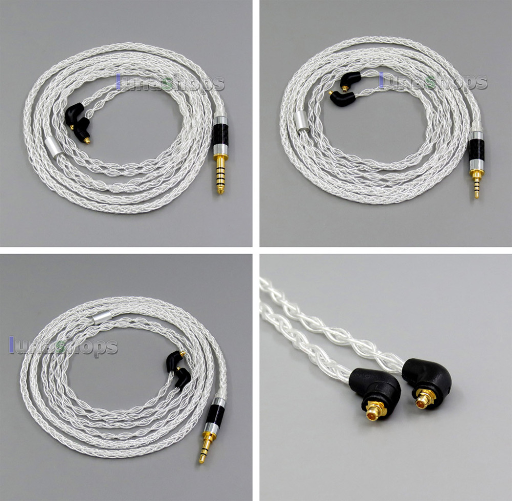 8 core 2.5mm 3.5mm 4.4mm Pure Silver Plated OCC Earphone Cable For Etymotic ER4 XR SR ER4SR ER4XR LN006123 800 wires soft silver occ alloy teflo aft earphone cable for ultimate ears ue tf10 sf3 sf5 5eb 5pro triplefi 15vm ln005407