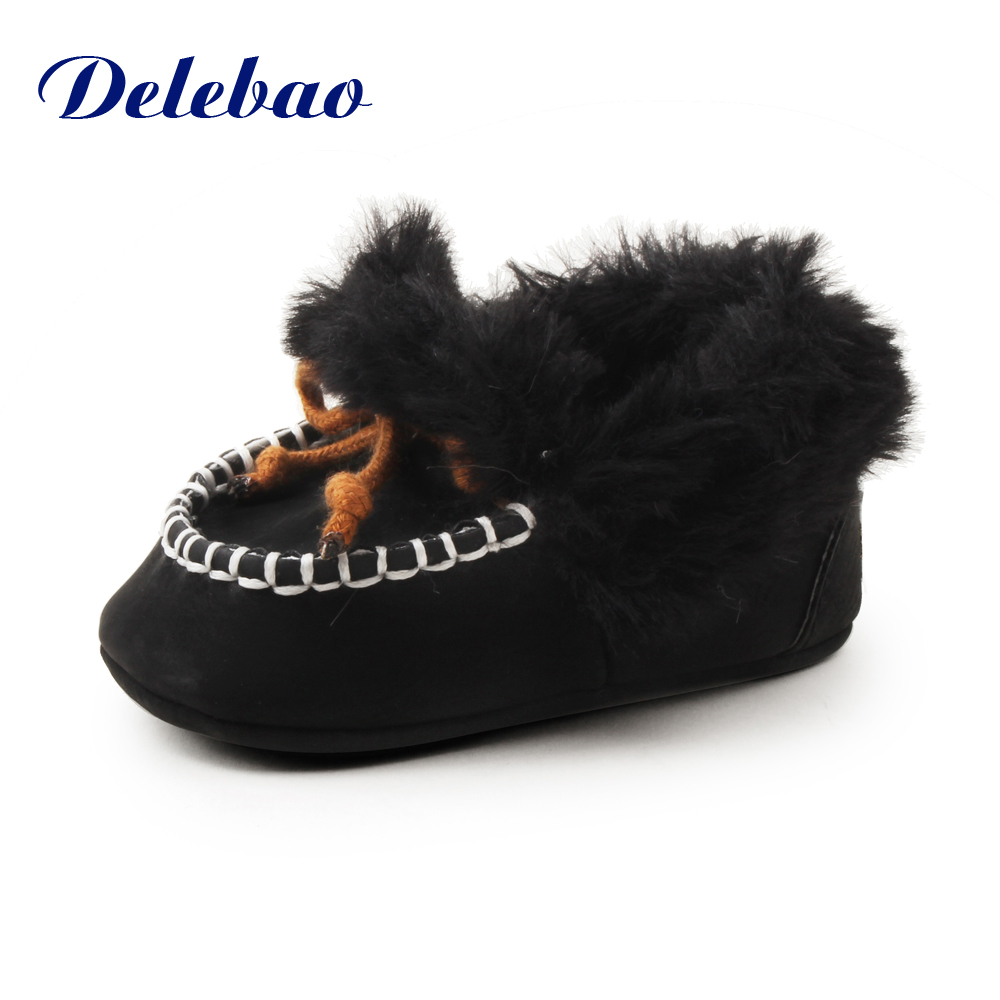 Delebao For 0-18M Winter Fluffy Baby Boots Soft Black Classic Style Design Slip-on Baby Warm Shoes