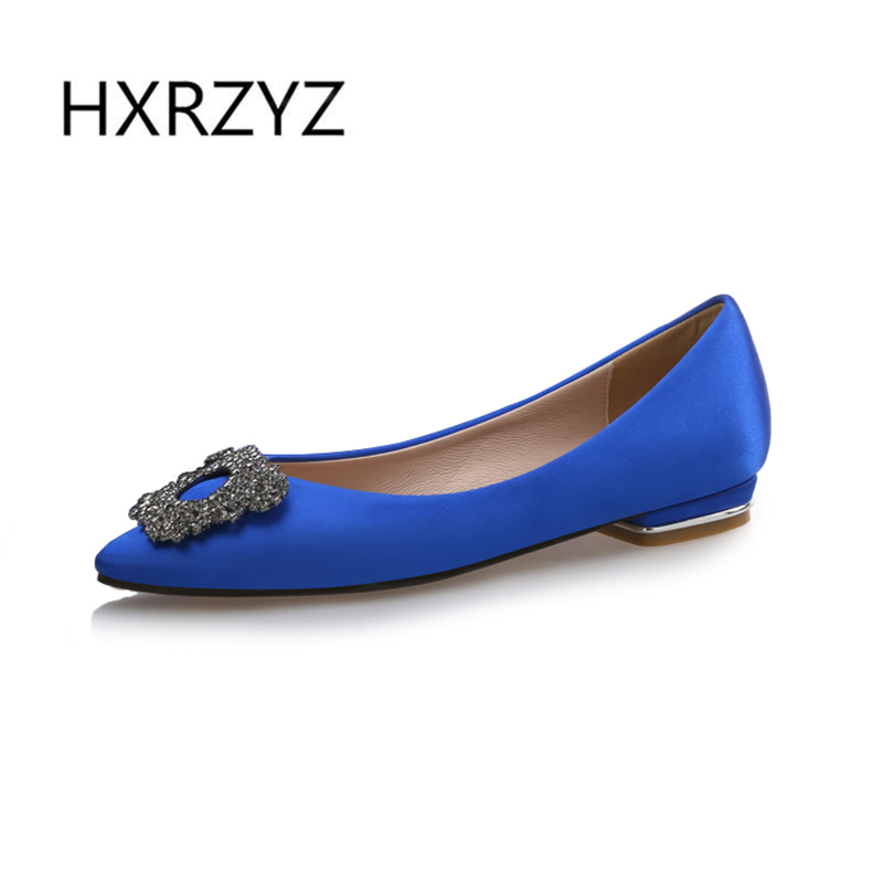 Large size spring/autumn new fashion womens flat shoes silk low heel pointed toe blue rhinestone black flats female casual shoes new spring autumn women shoes pointed toe high quality brand fashion ol dress womens flats ladies shoes black blue pink gray