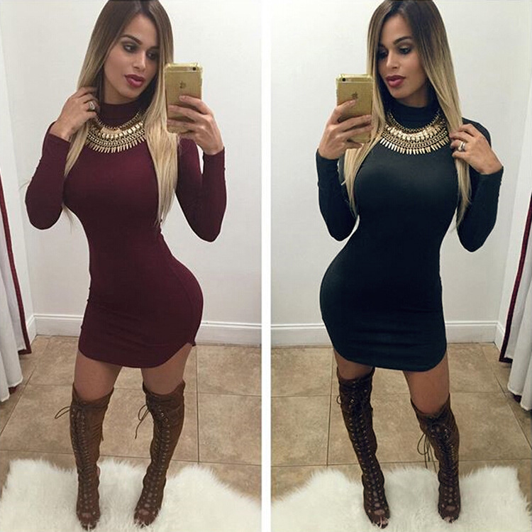Online Shop Long Sleeve Dresses Sexy Club Evening 2015 Autumn ...