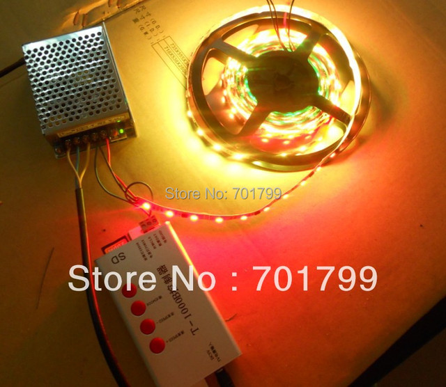 5m DC12V 48leds/m 16pixels)led digital strip,non-waterproof +12V/60W power supply+T-1000B sd card controller