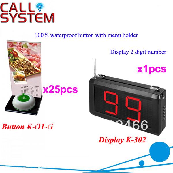 Pager Waiter Call System K-302+O1-G+H for restaurant with 1-key call button with menu holder and display DHL free Shipping restaurant call bell pager system 4pcs k 300plus wrist watch receiver and 20pcs table buzzer button with single key