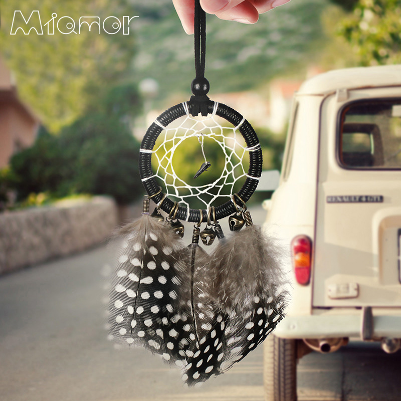 MIAMOR Clopoței mici de bronz Dreamcatcher & Wind Chimes Pendant auto Pagina de decorare Accesorii Wall Hanging Dream Catcher Amor101