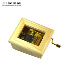 JUH Nice Music Song With Brand New Hand Wool Gold Plated Music Box Birthday Gift Square Wood Craft Musical Mechanism Box