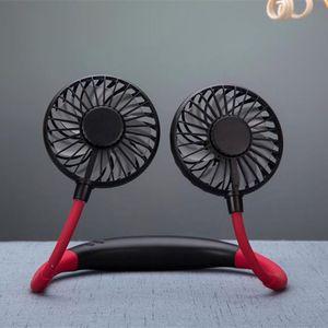 Image 5 - 2000MA el ücretsiz spor çift Fan taşınabilir boyun bandı asılı USB pil şarj edilebilir Mini soğutucu Fan ışıkları ve parça 360 Ad