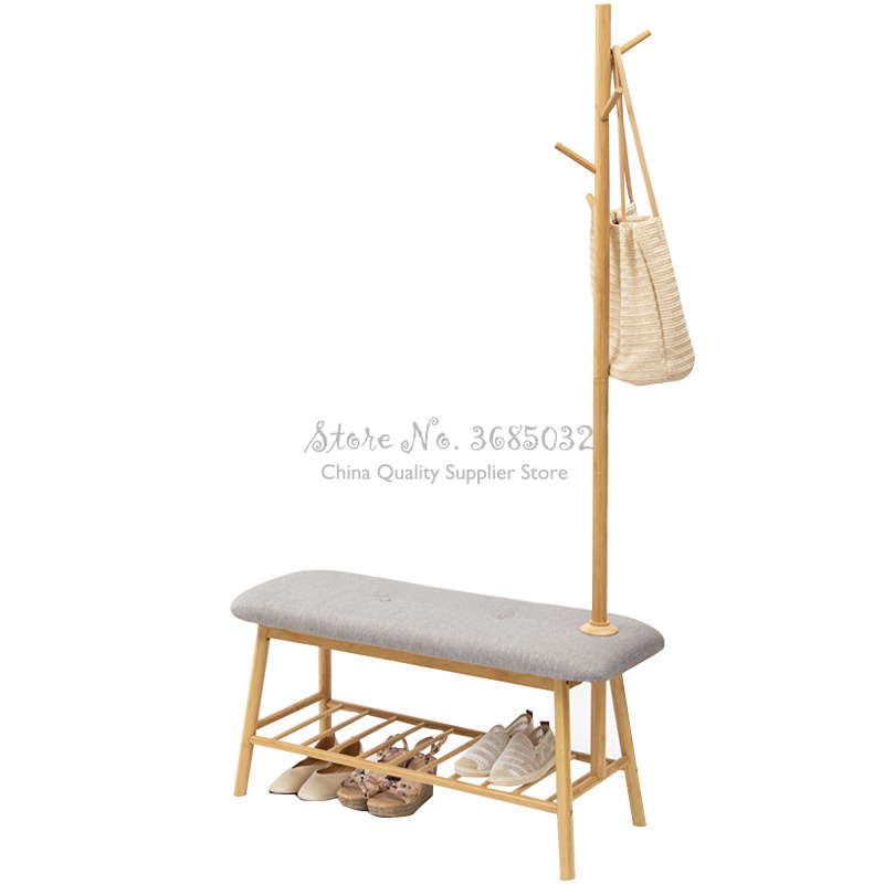 D,European Square Solid Wood Shoes Storage Bench Modern Minimalist Shoe Rack Stool Fabric Bed Tail Dressing Stool