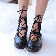 1 Pair Lady Diamond Mesh Fishnet lace-up socks sexy Transparent Women Boat Socks