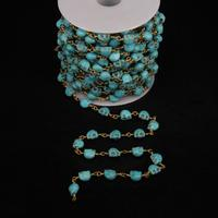 5Meter,6x8mm Turquoises Skull Link Brass Wire Wrapped Chain,Blue Turquoises Skull beads Rosary Chains Gems Necklace Jewelry