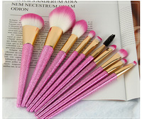 MODOAO 10Pcs Professional Colorful Makeup Brush Set Rainbow Handle Makeup Brush Cosmetics Blusher Powder Blending Unicorn
