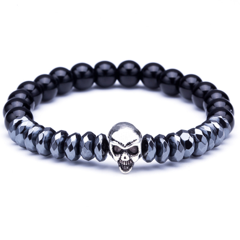 Yuxi Stempunk Skull Bead Bracelet 4 Color Natural Stone Beaded Bracelets For Men Elastic Hand Chain Jewelry Pulseira Masculina Bracelets & Bangles