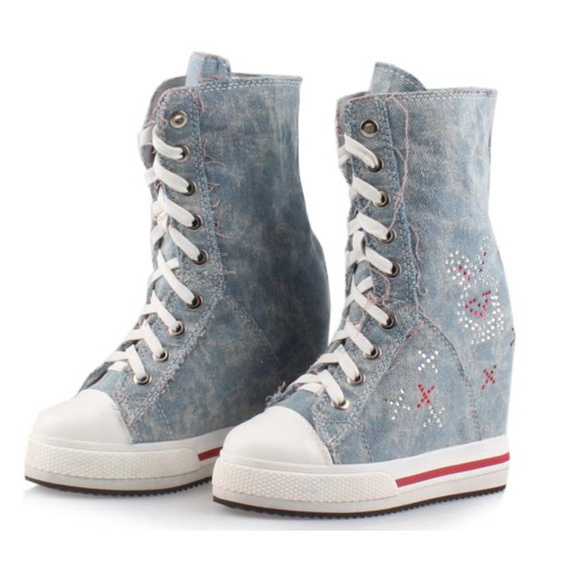 denim canvas Invisible height increasing woman mid-calf boots med wedges woman boots lace-up fashion rhinestone platform shoes double buckle cross straps mid calf boots